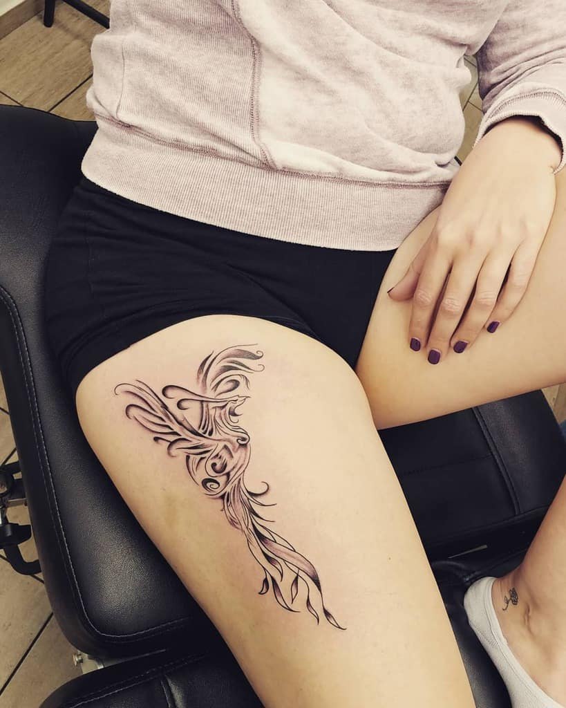 Small Black Phoenix Tattoos mr.jones.tattoo