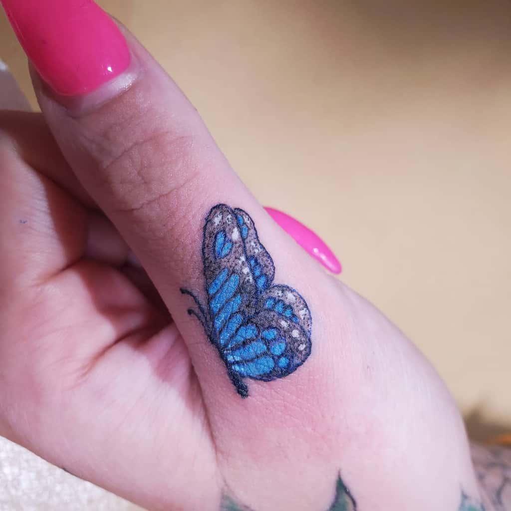 Small Blue Butterfly Tattoos inklin_tattoos