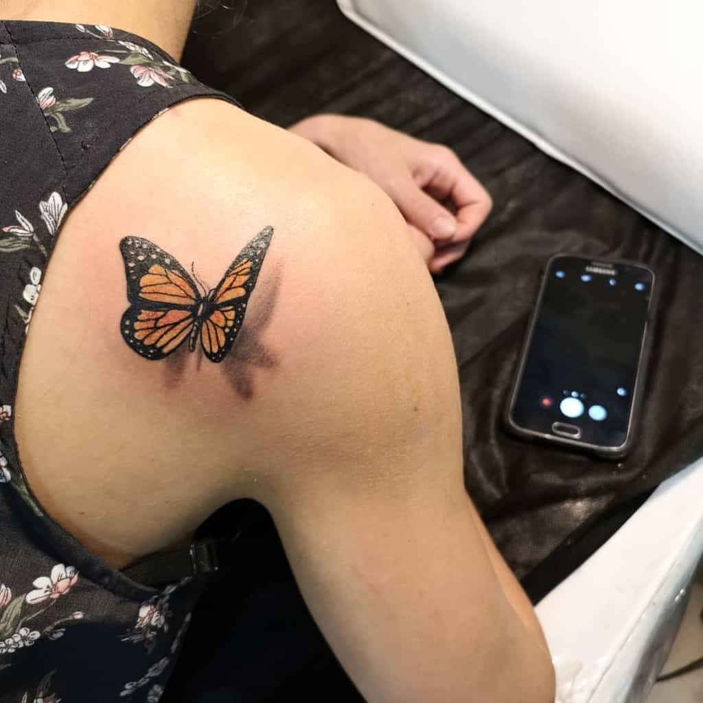 Small Butterfly Shoulder Tattoos House Of Owls Art