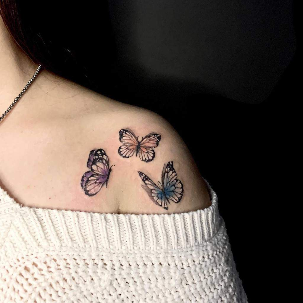 Small Butterfly Shoulder Tattoos Leofra.inkside