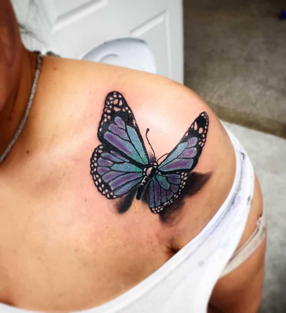 Small Butterfly Shoulder Tattoos Tiagotargacampos