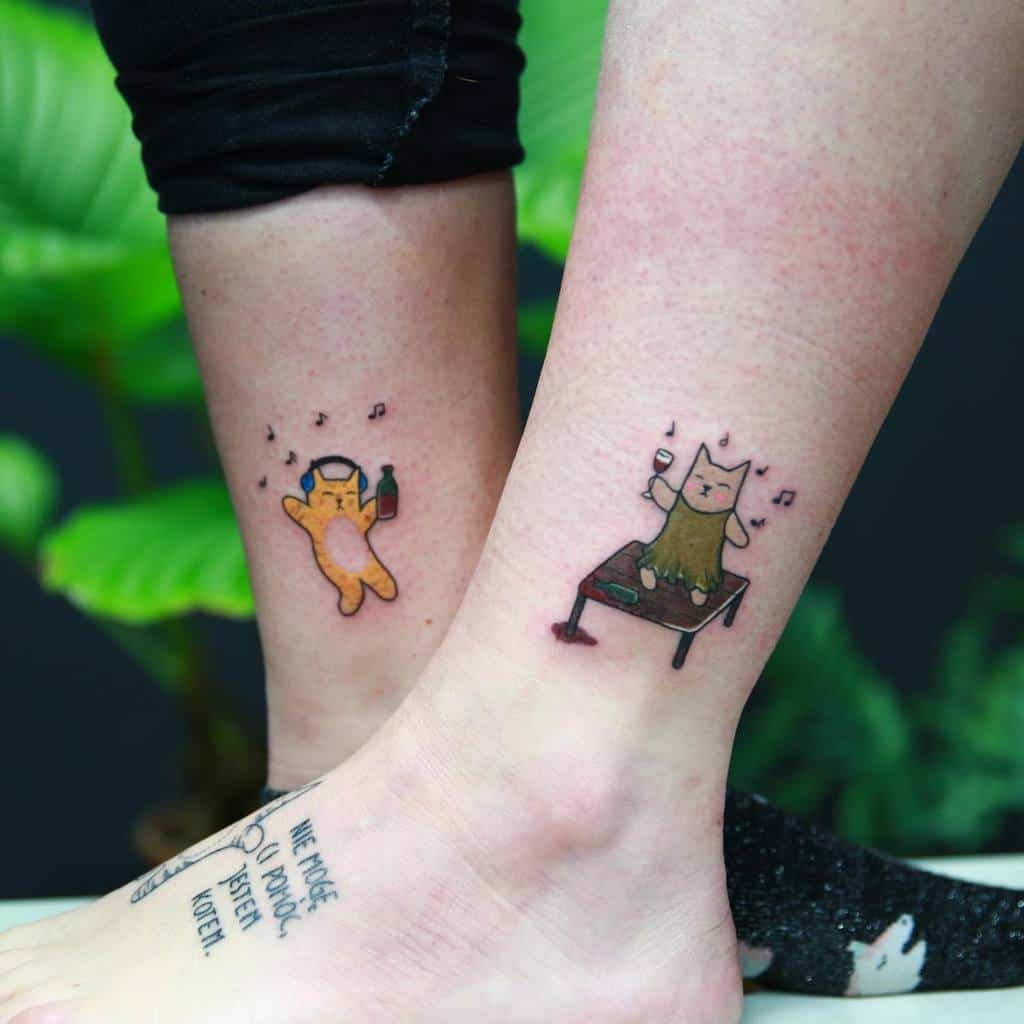 Small Cat Ankle Tattoos hiacyntaa