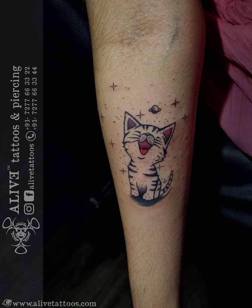 Small Cat Forearm Tattoos alivetattoos