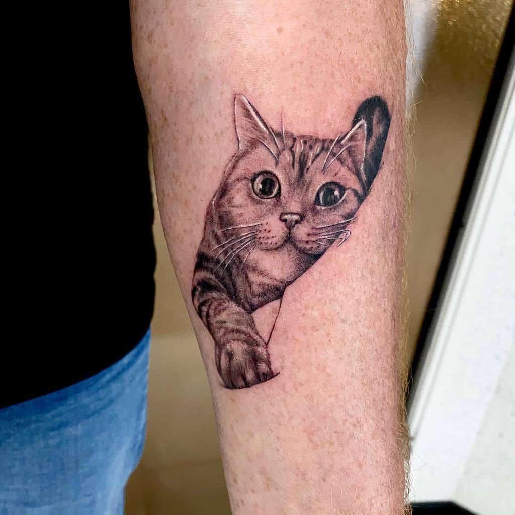 Small Cat Forearm Tattoos prestigetattoo94