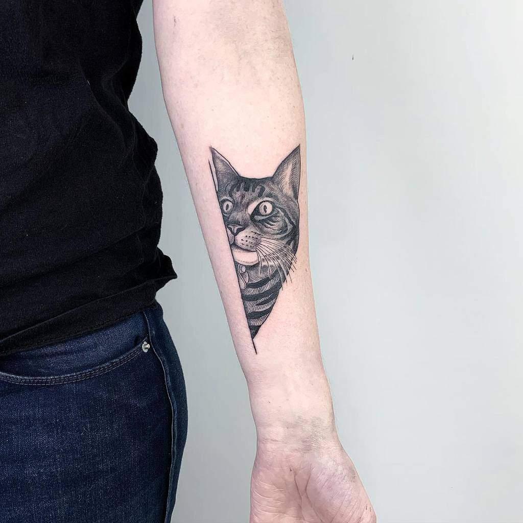 Small Cat Forearm Tattoos stevie_doan