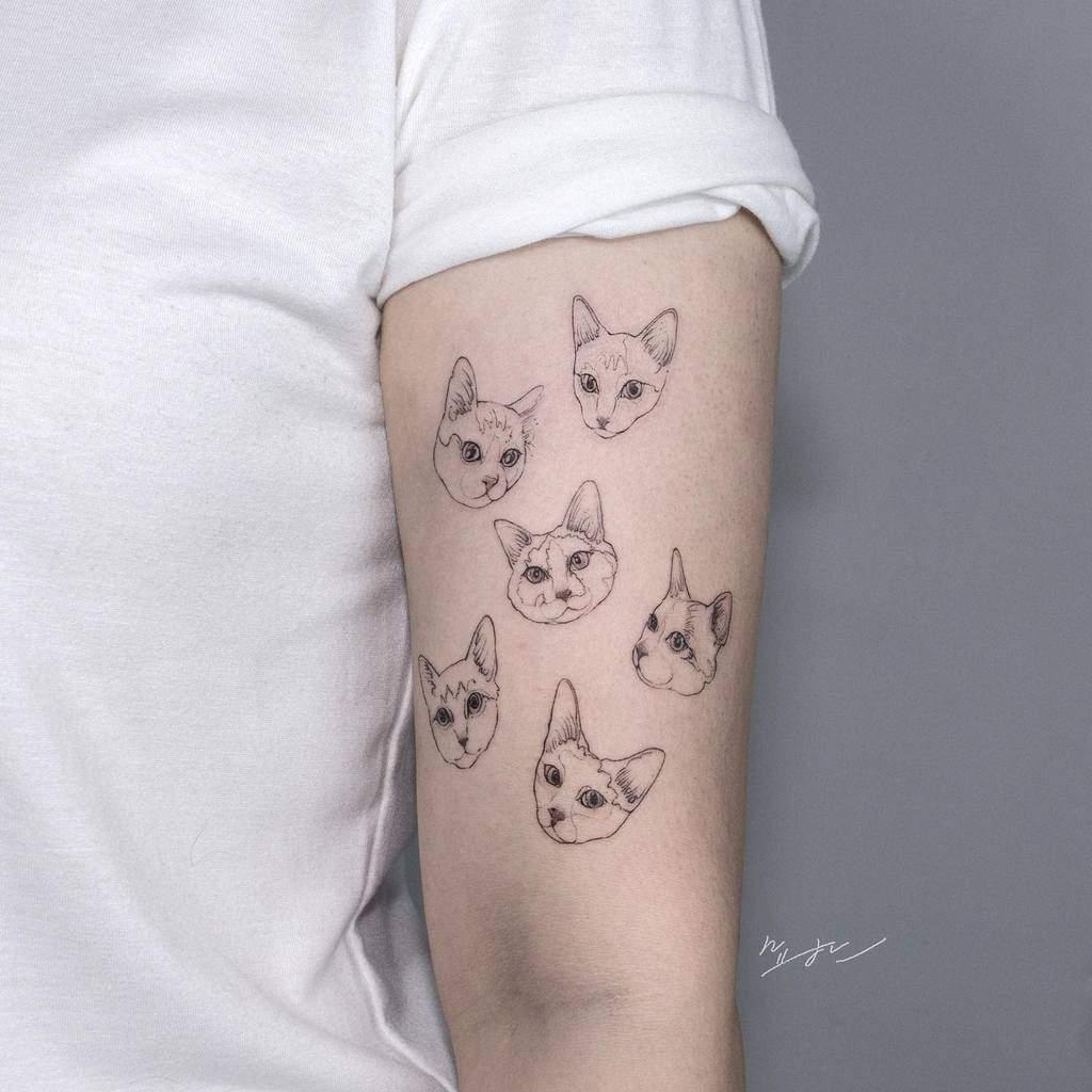 Small Cat Upperarm Tattoos kimyohan_tattoo