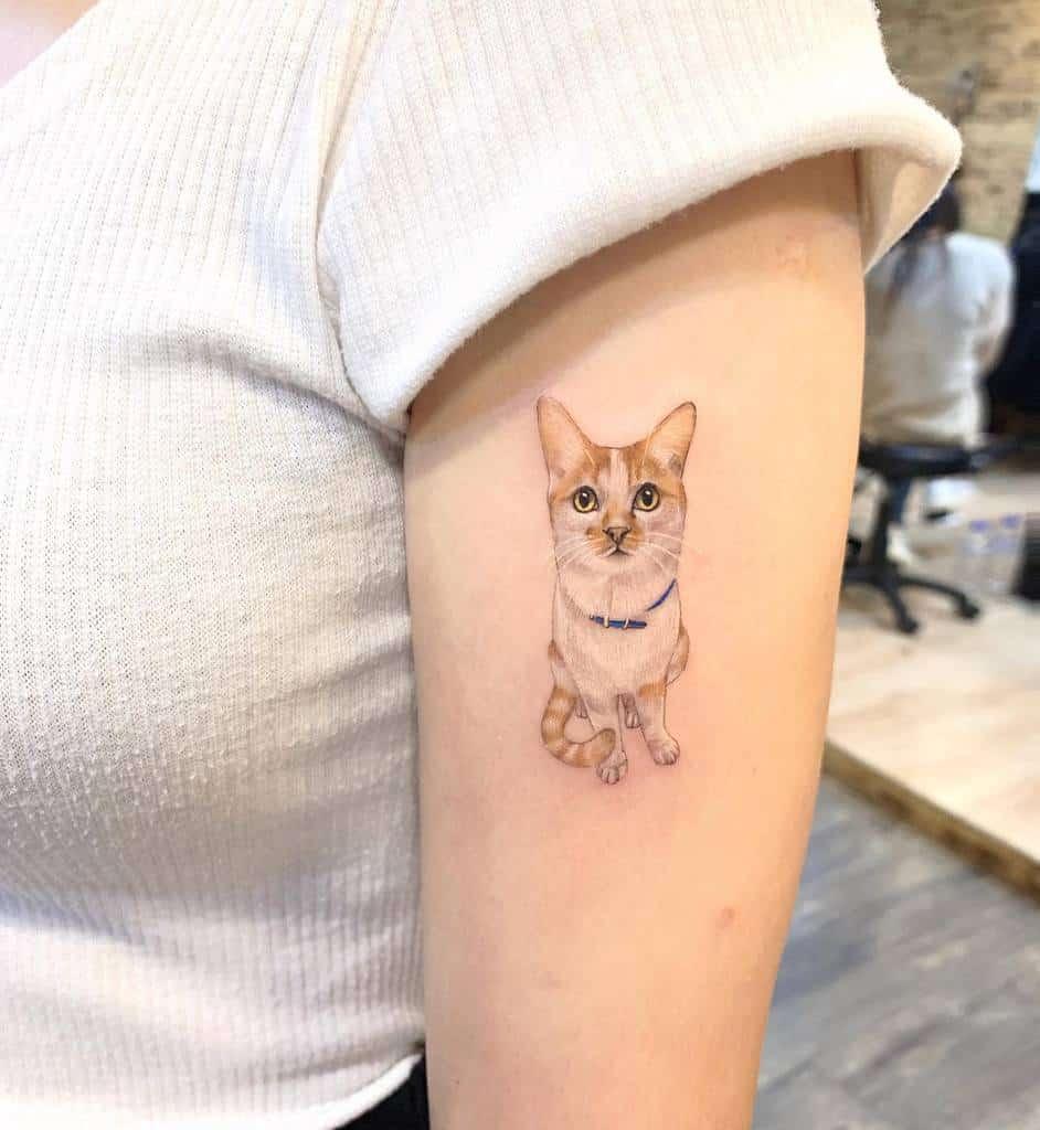 Small Cat Upperarm Tattoos meilu_928