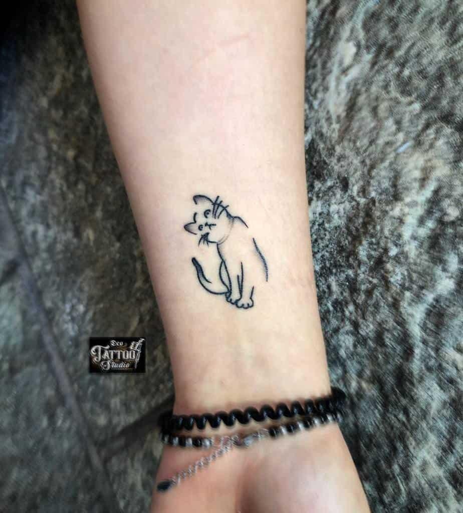Small Cat Wrist Tattoos deotattoocasoria