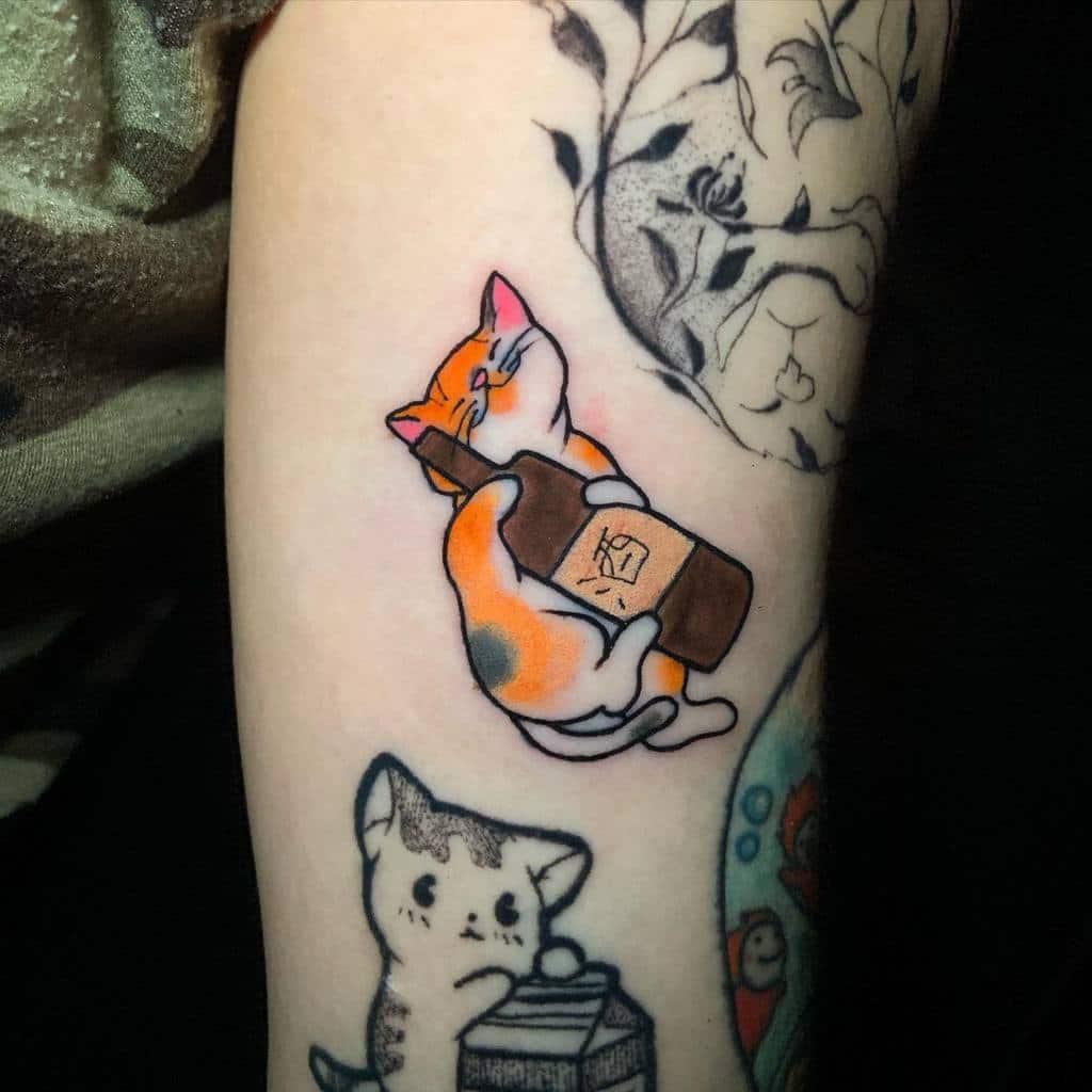 Small Colored Cat Tattoos atarazia_