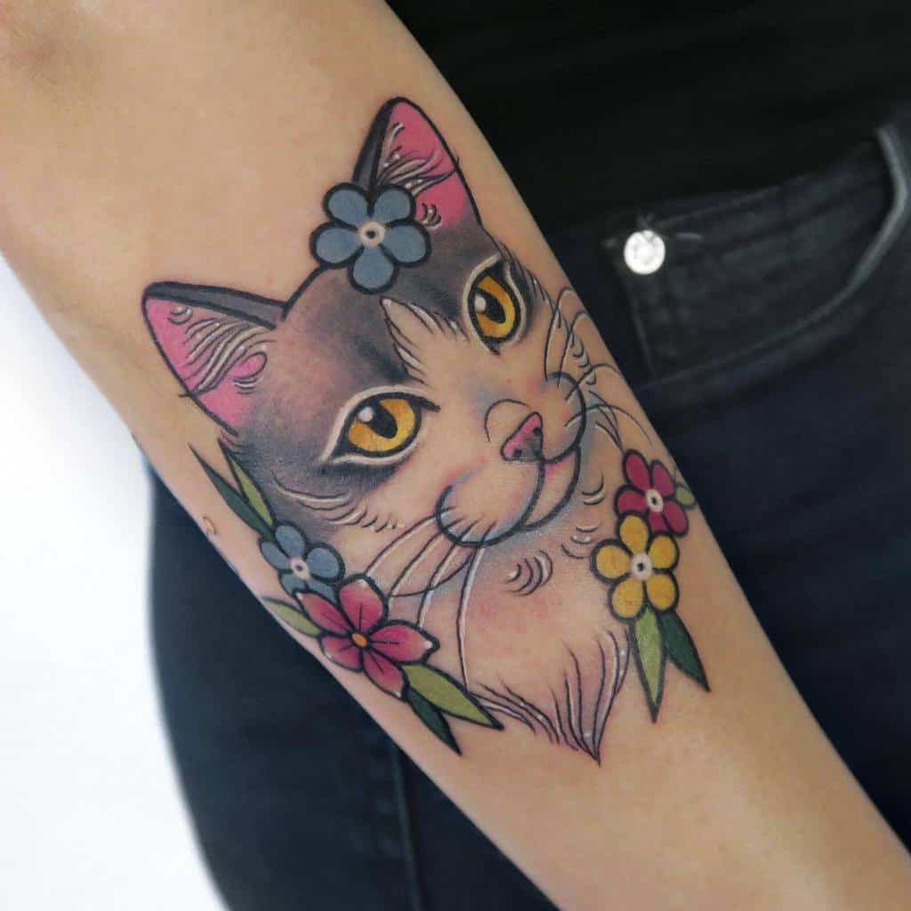 Small Colored Cat Tattoos lamagatattooer