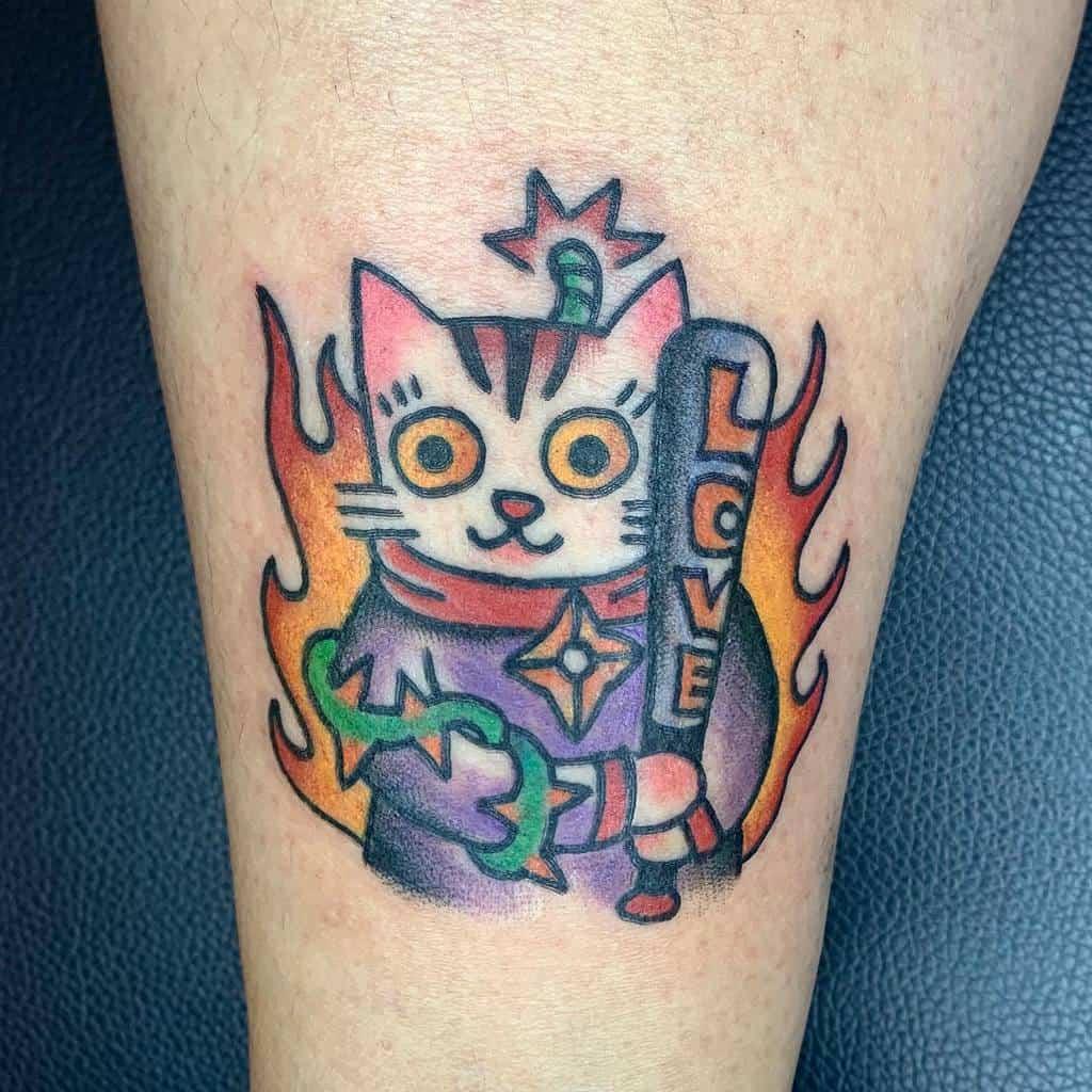 Small Colored Cat Tattoos sssgoddog