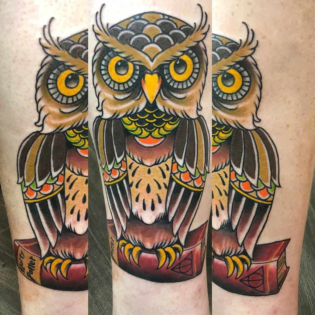 Small Colored Owl Tattoos chriscurtistattoos
