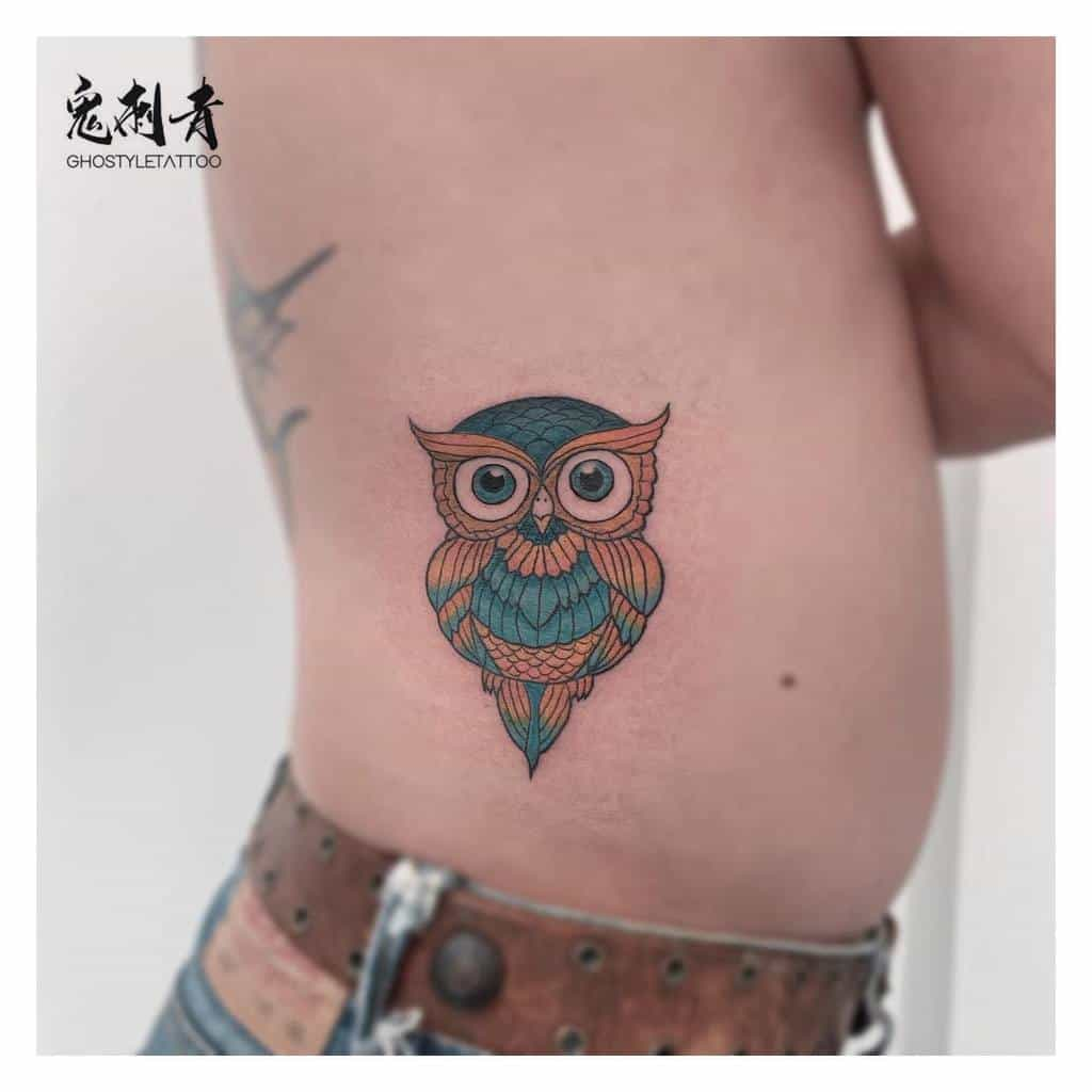 Small Colored Owl Tattoos ghostyle_alex