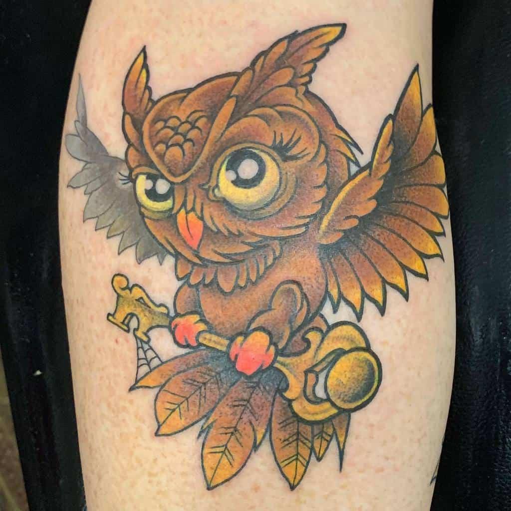 Small Colored Owl Tattoos jayblack666