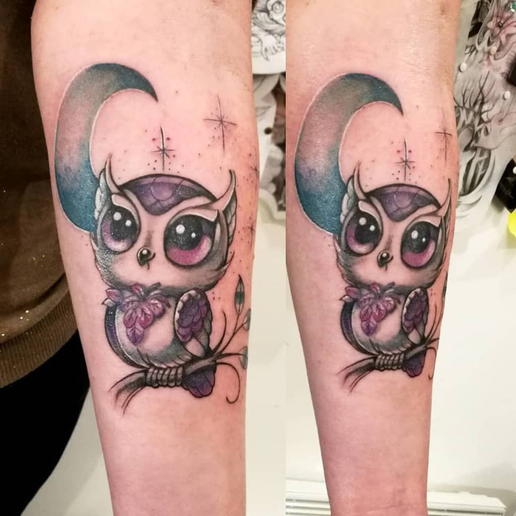 Small Colored Owl Tattoos mademoiselle_hirondelle