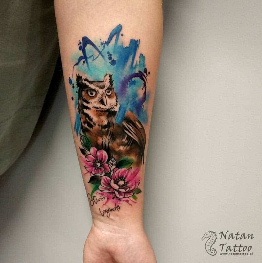 Small Colored Owl Tattoos natantattoo pl