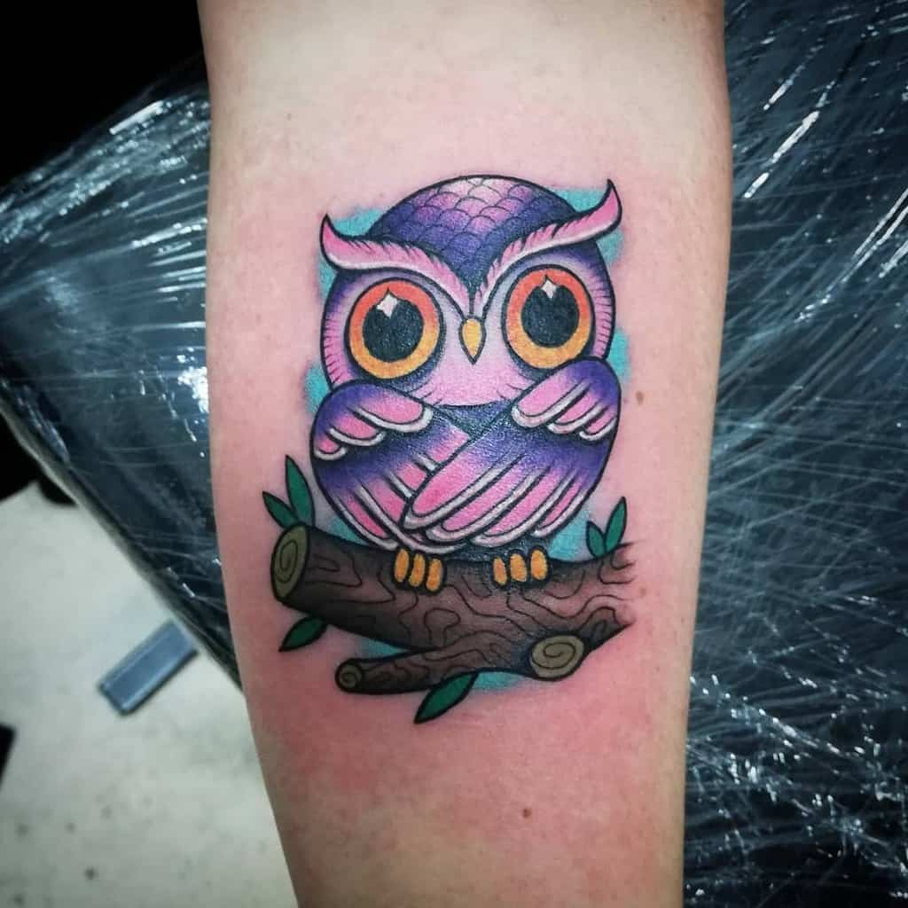 Small Colored Owl Tattoos specchiotattoo