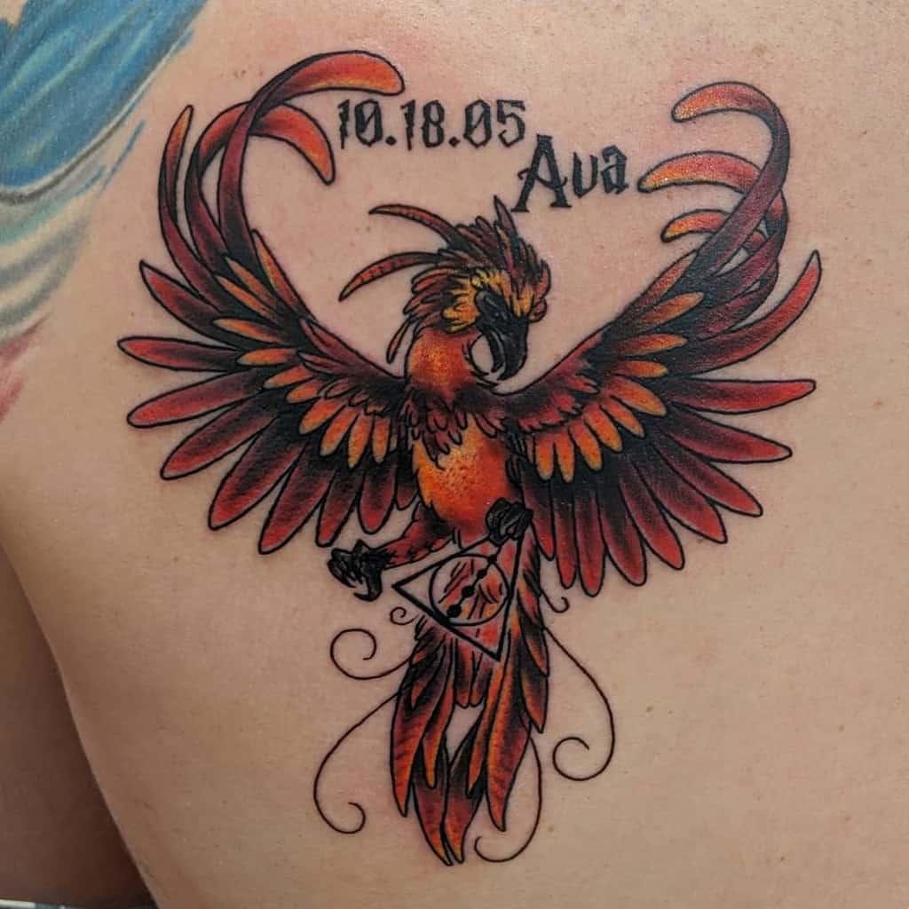 Small Colored Phoenix Tattoos emi.artist