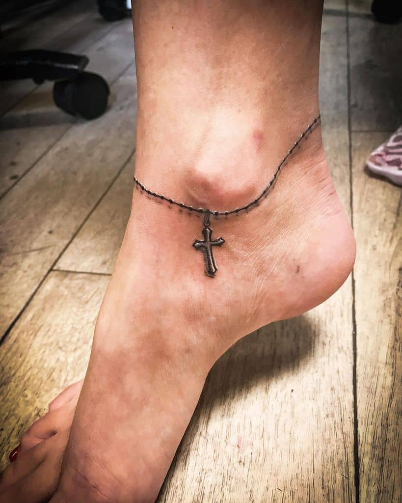 Small Cross Ankle Tattoo gabikatattoo