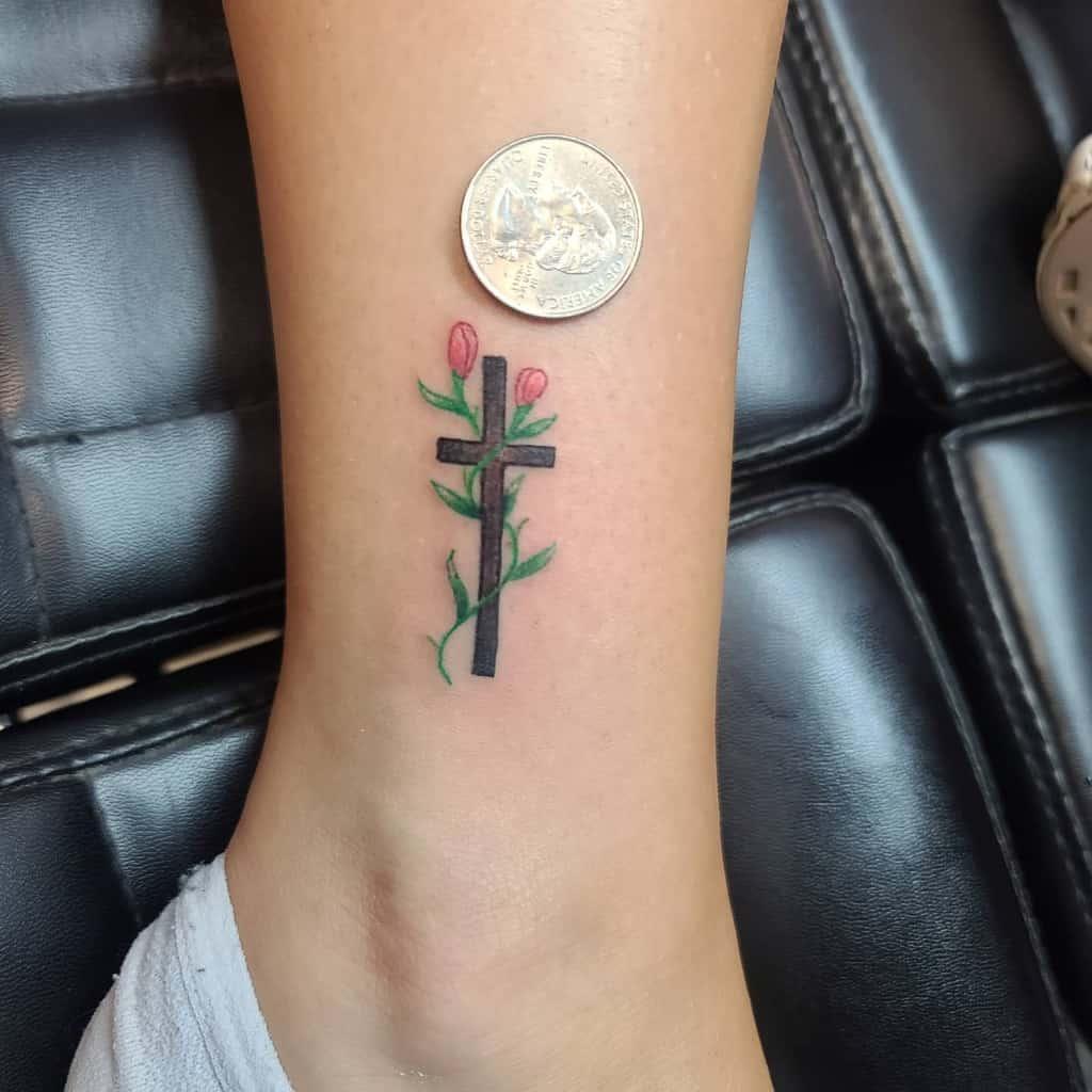 Small Cross Ankle Tattoo Markjrusso