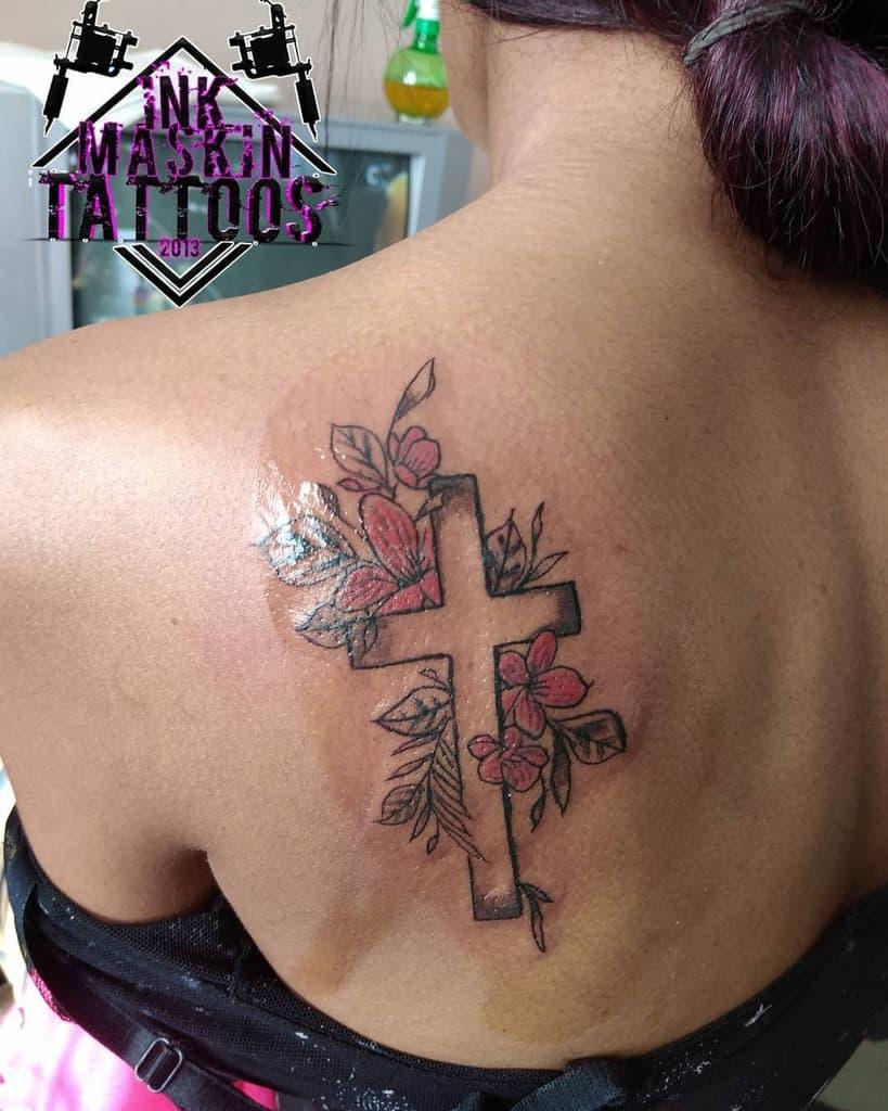 Small Cross Back Tattoo Inkmaskin Tattoos