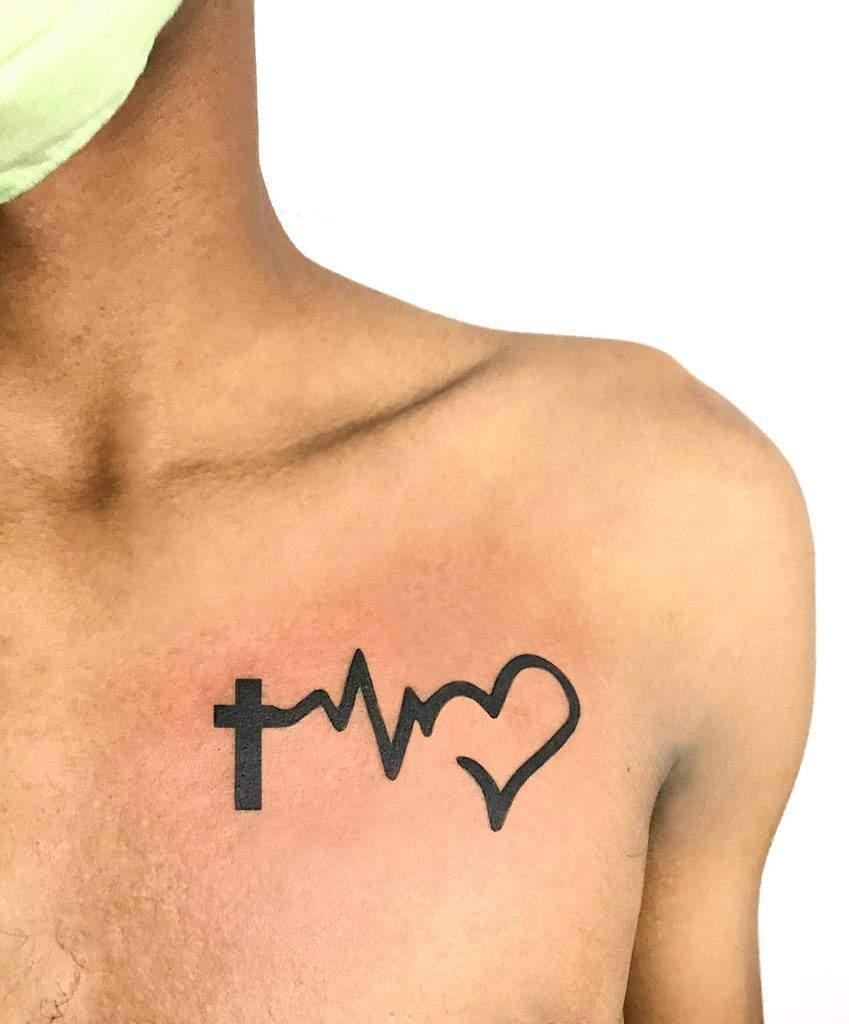 Small Cross Chest Tattoo Jean Duran29