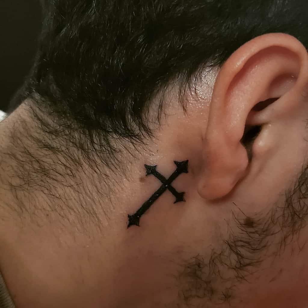 Small Cross Ear Neck Tattoo 2 Ranchos Ink
