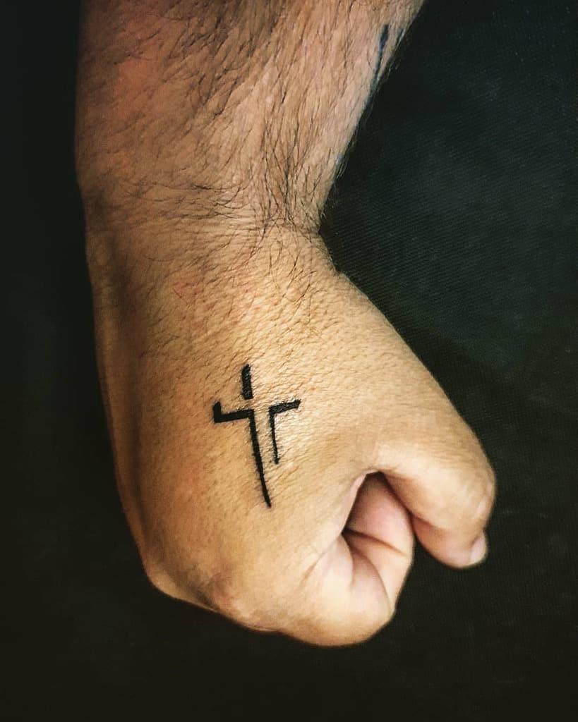 Small Cross Hand Finger Tattoo Margarispiros