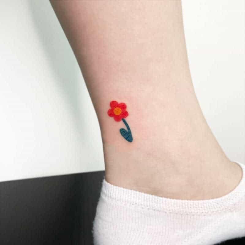 Small Flower Ankle Foot Tattoos Tattooist Peacock