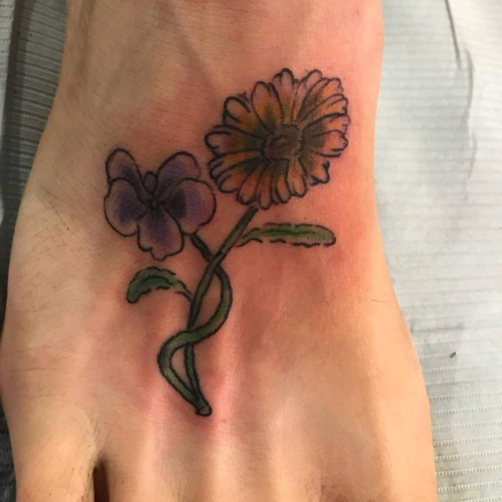 Small Flower Ankle Foot Tattoos Threerosestattoos
