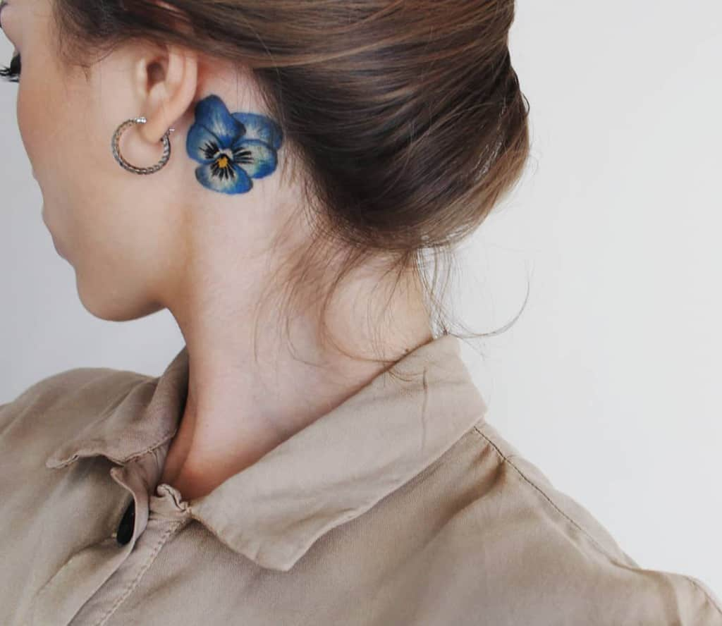 Small Flower Ear Tattoos me.my.mou