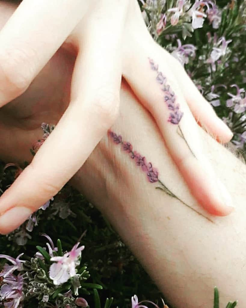 Small Flower Hand Finger Tattoos 1 Inky Wood Ribbons