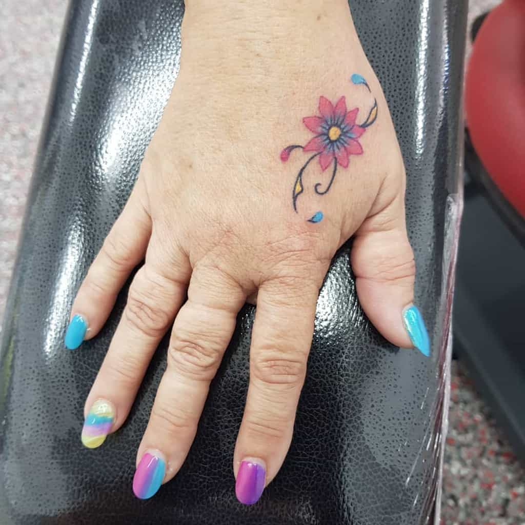 Small Flower Hand Finger Tattoos Ashleighhutchins Art