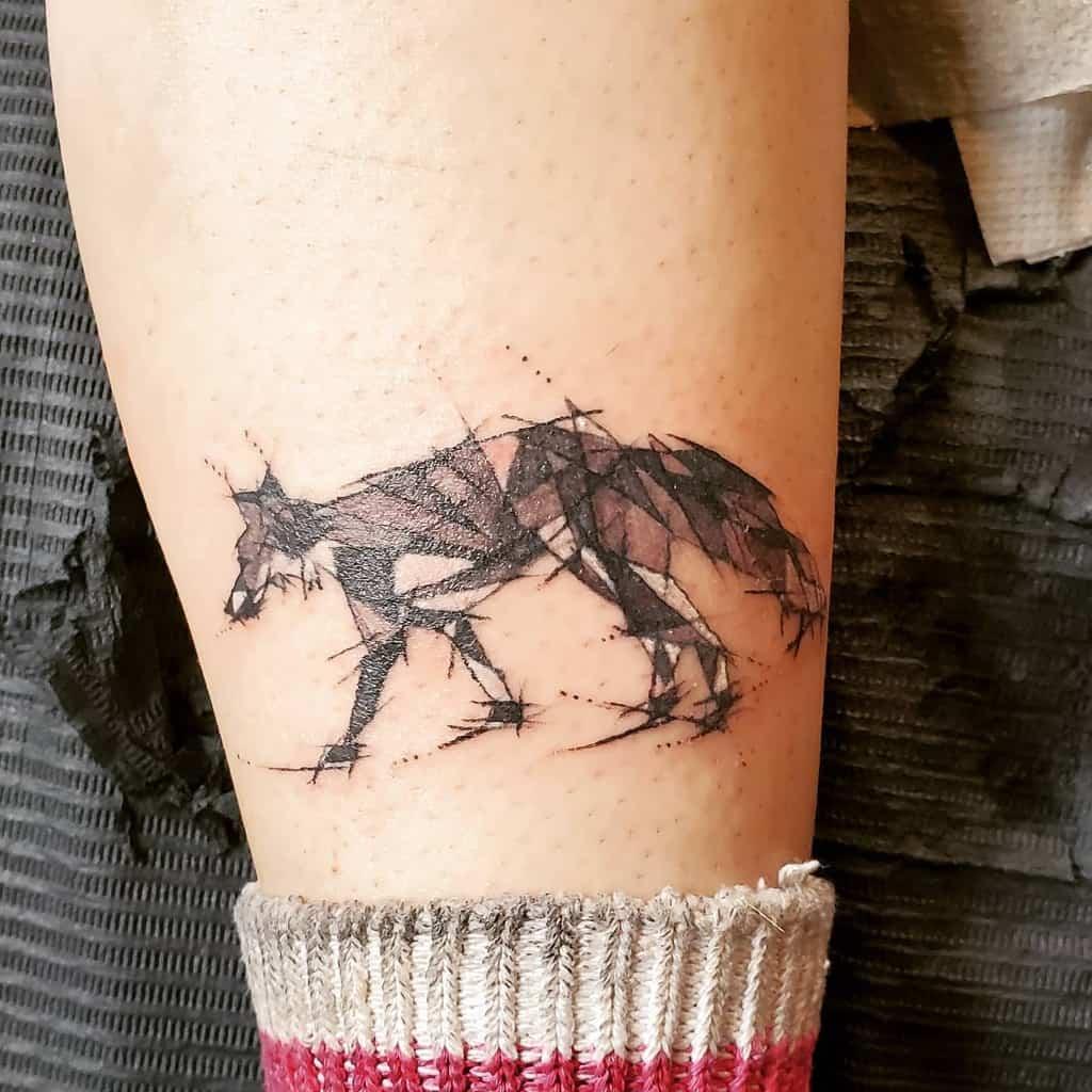 Small Geometric Fox Tattoo v_inkz