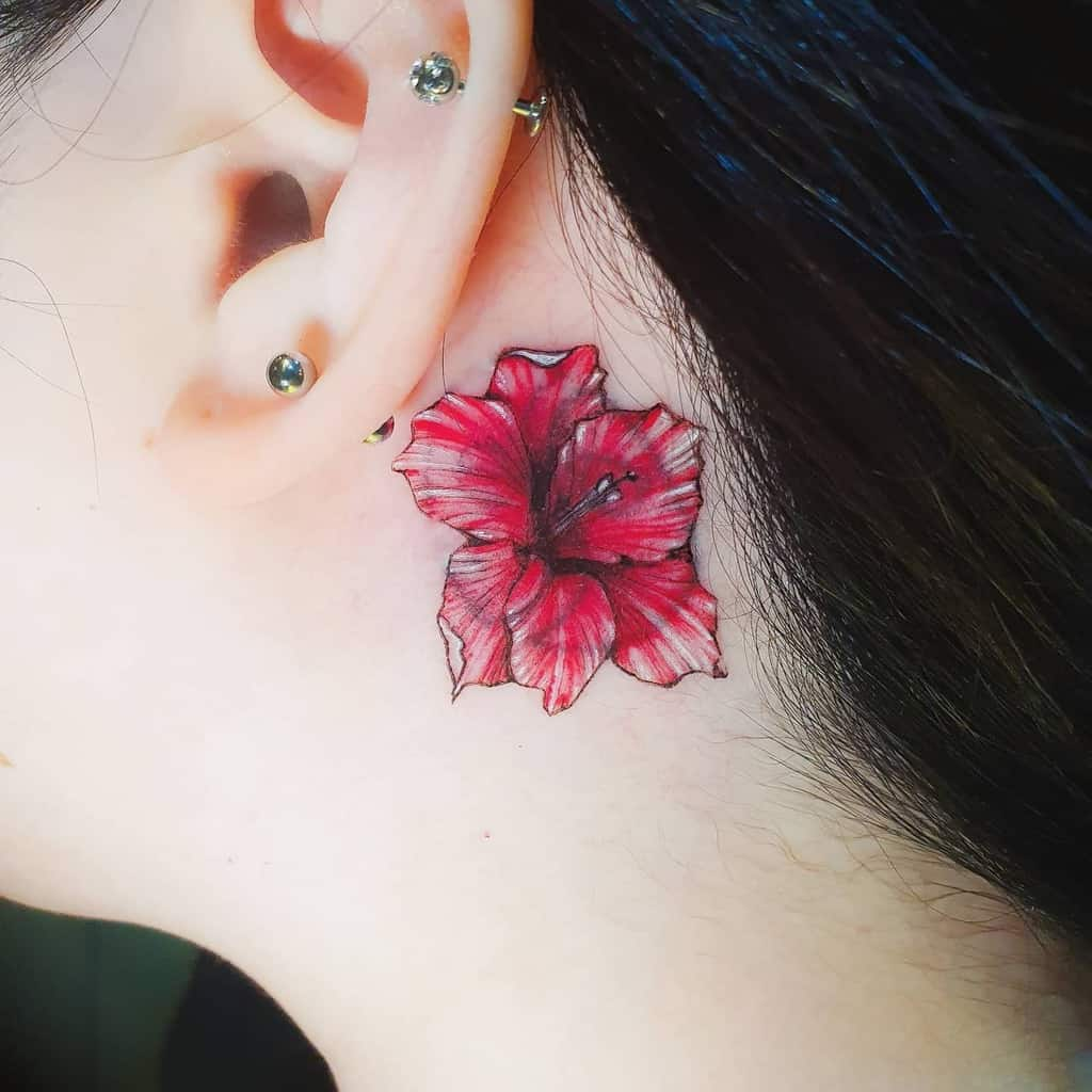 Small Gladiolus Flower Tattoo tattooist_mi.ran