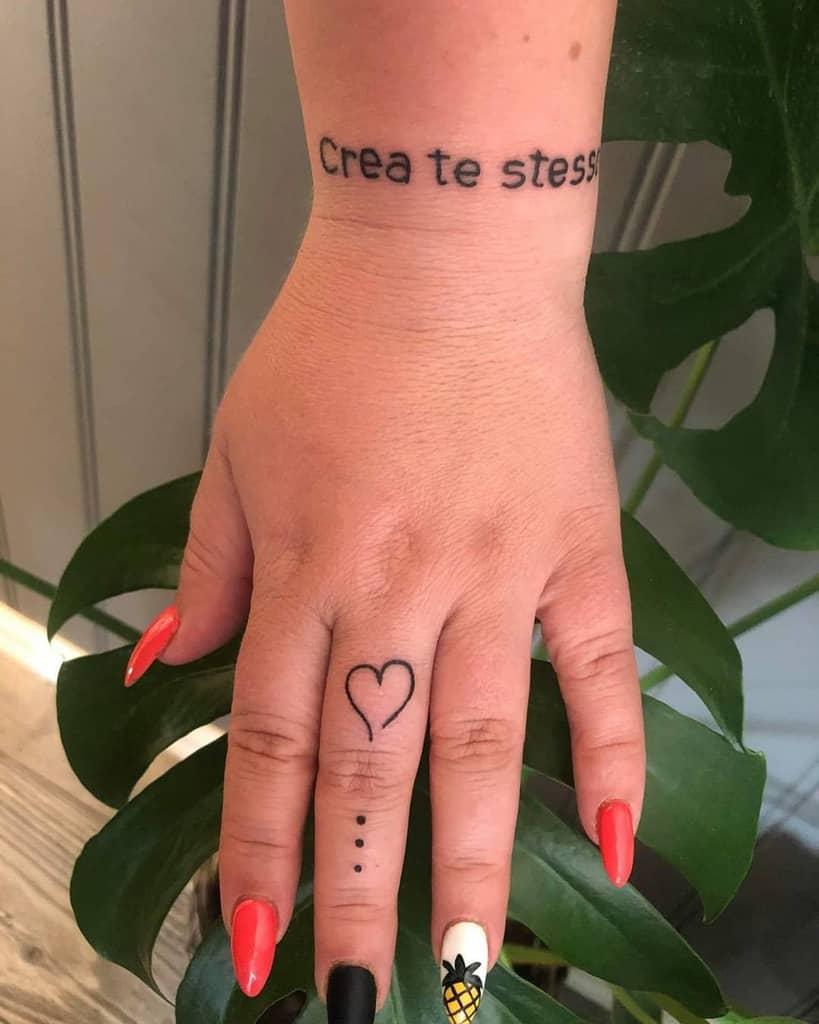 Small Heart Hand Finger Tattoos Artist Puska Oeen