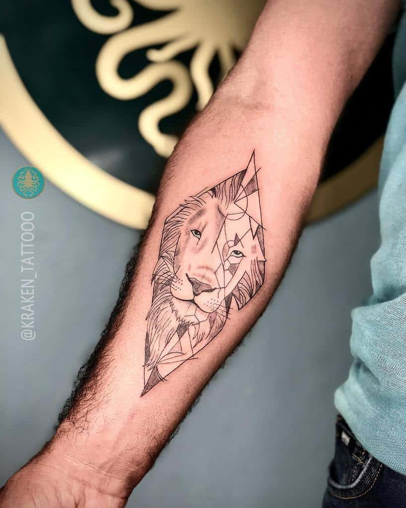 Small Lion Forearm Tattoos kraken_tattooo