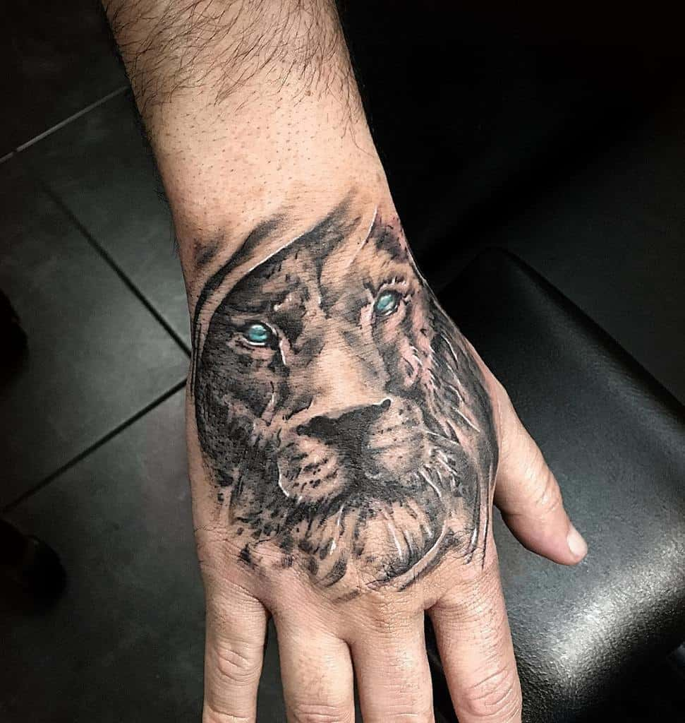 Small Lion Hand Finger Tattoos popeye_loves_olive_tattoos