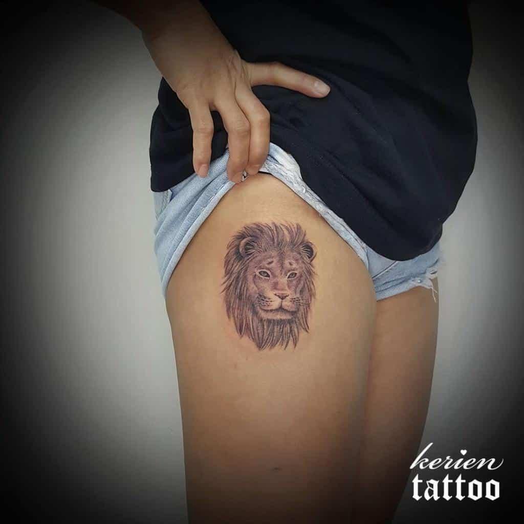 Small Lion Hip Thigh Tattoos kerien_tsang