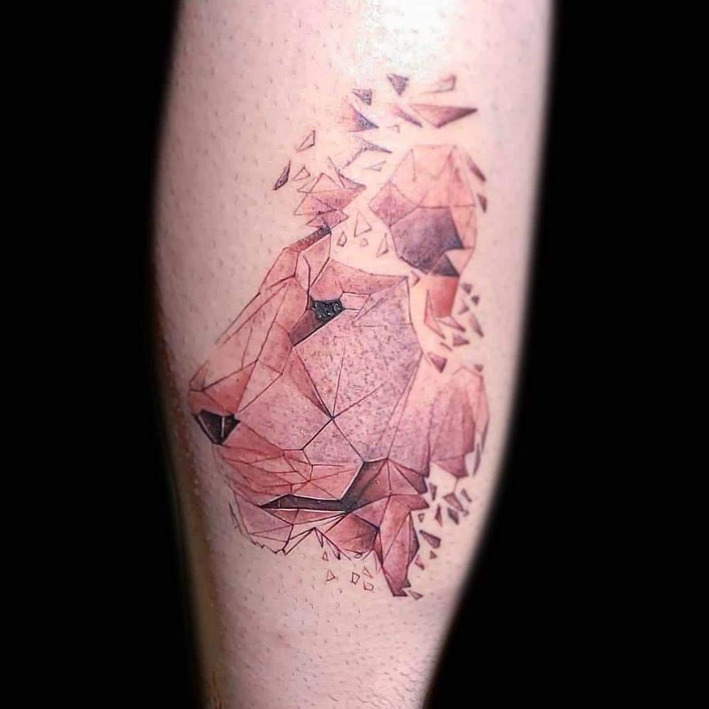 Small Lion Leg Tattoos artguin
