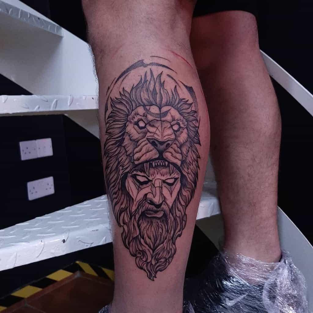 Small Lion Leg Tattoos ilpadrinotattoo