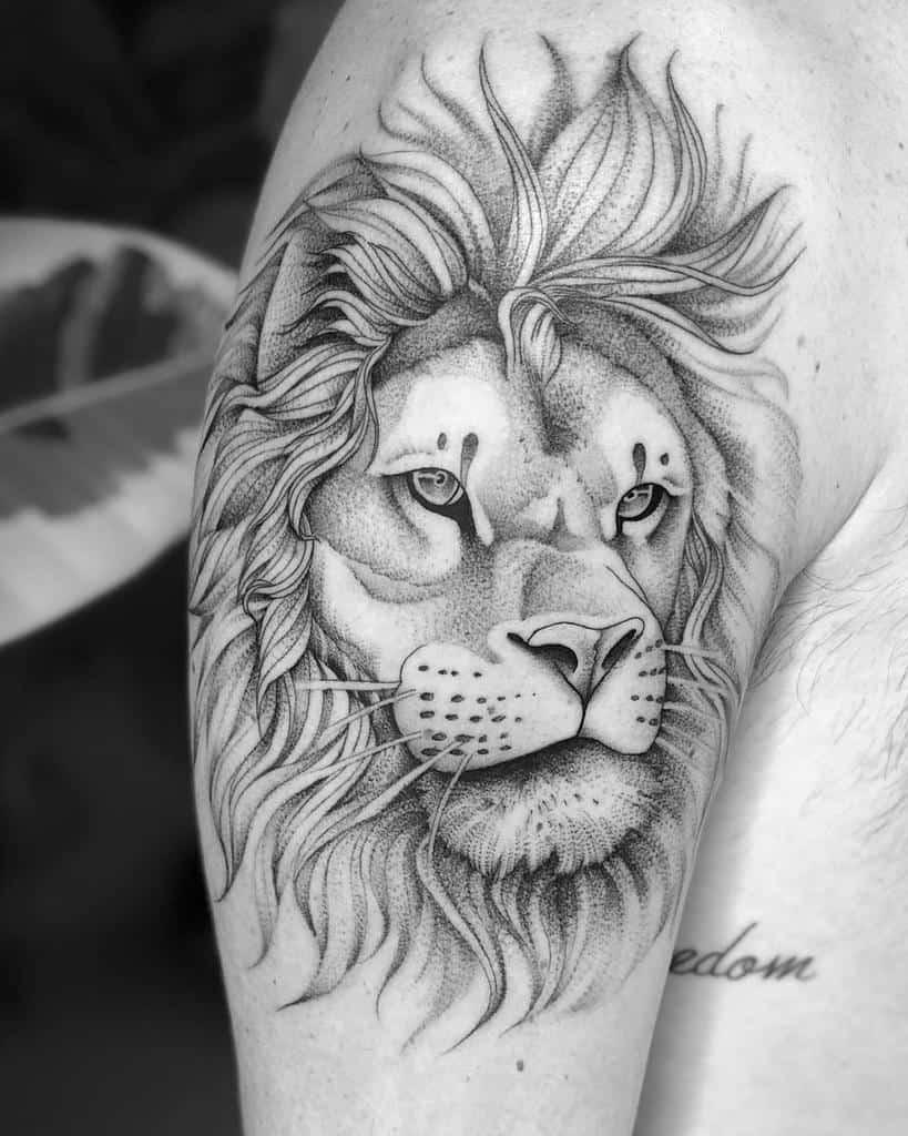 Small Lion Shoulder Tattoos sir.edwardtattoo