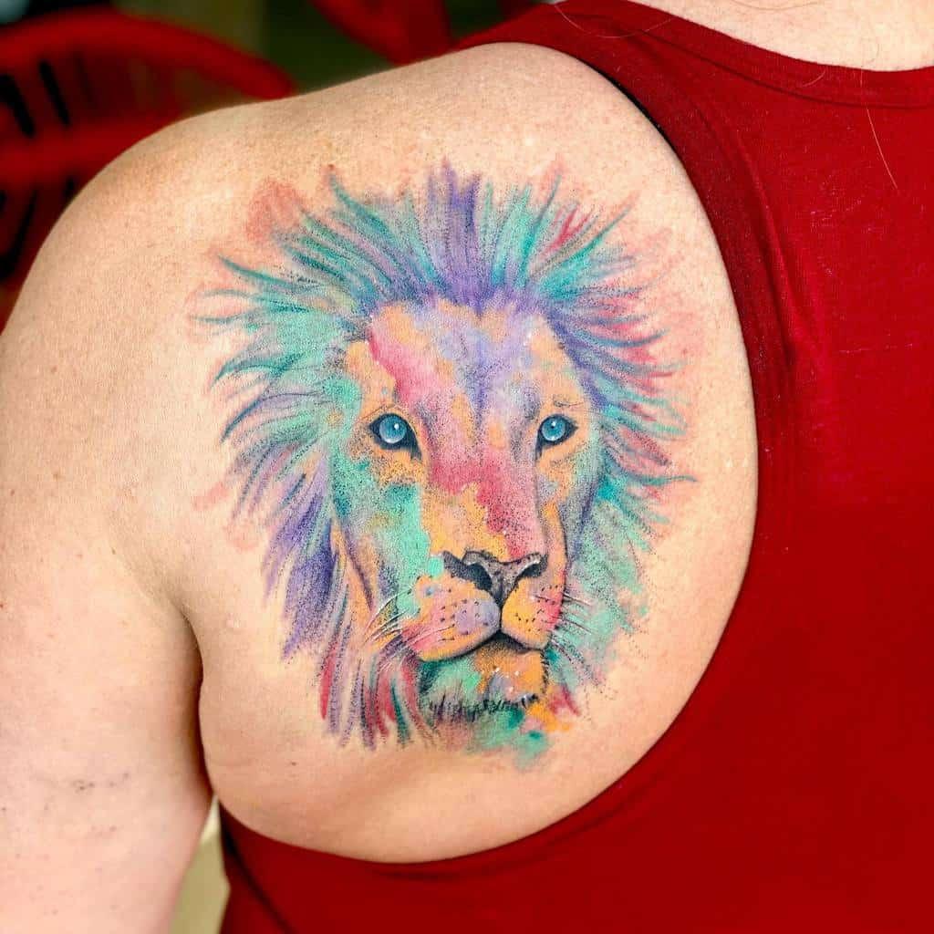 Small Lion Shoulder Tattoos tattoosbydelan