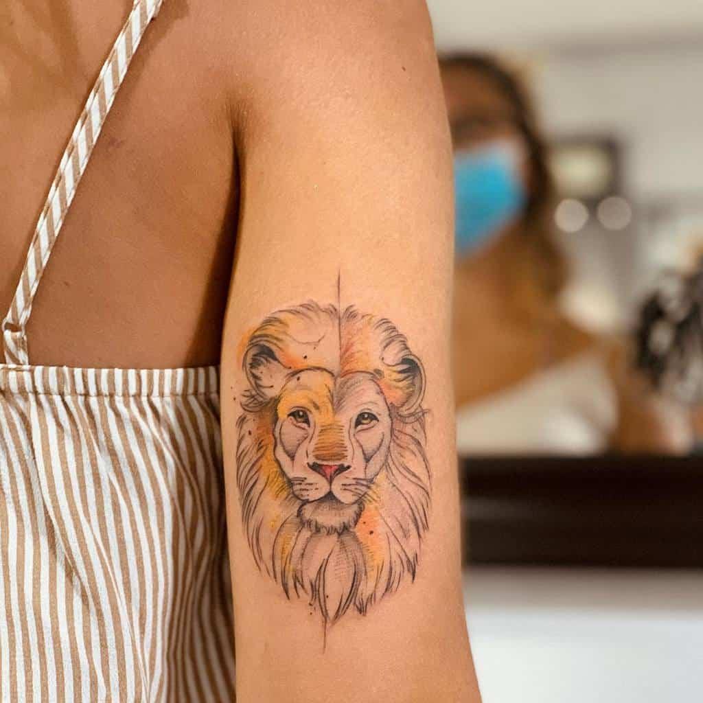 Small Lion Upperarm Tattoos giovanni_andolina_