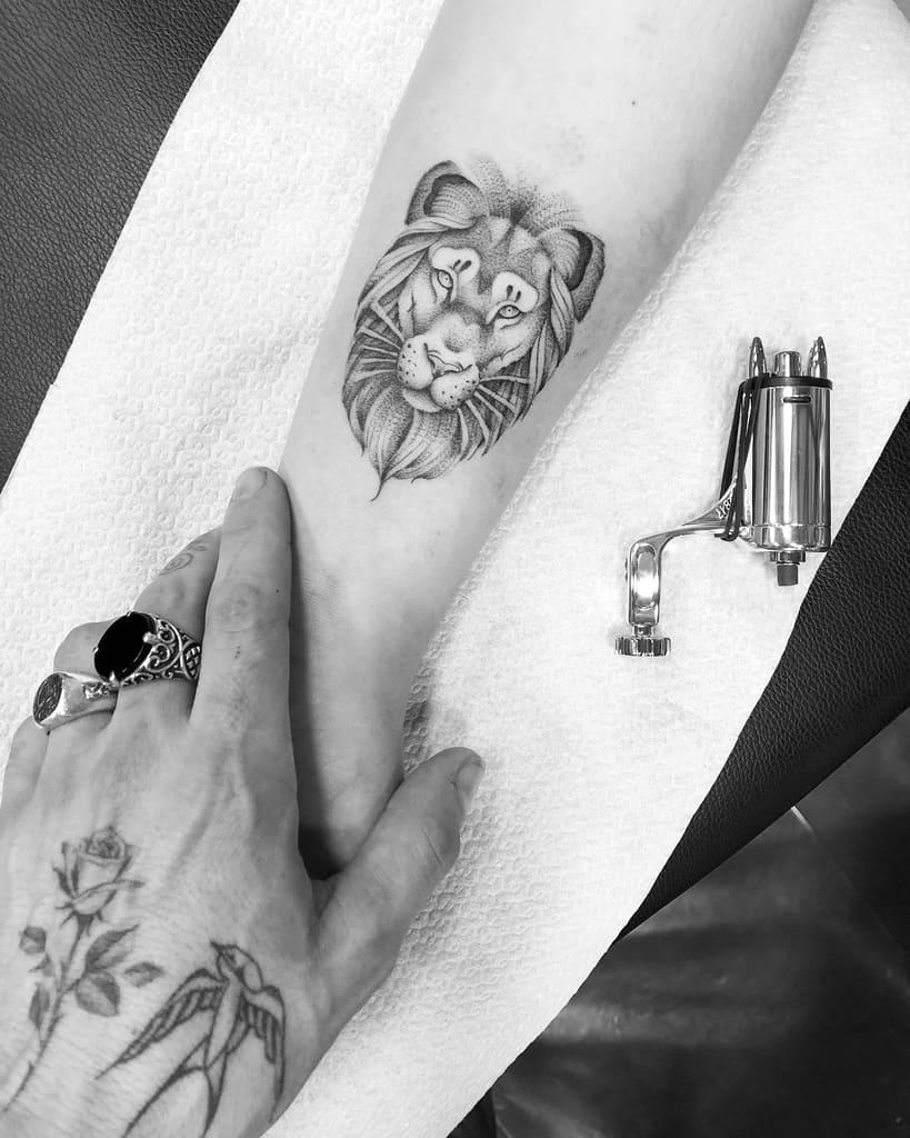 Small Lion Wrist Tattoos sir.edwardtattoo