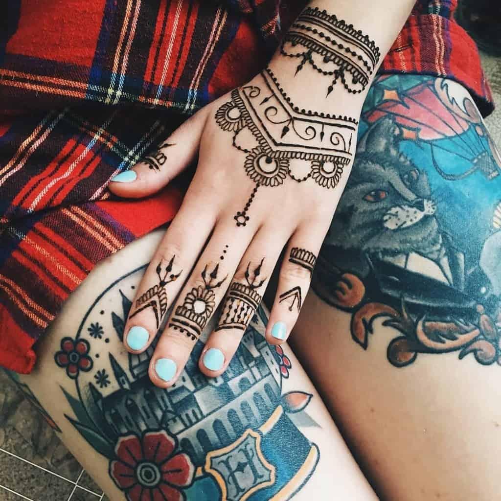 Small Mandala Ornament Finger Tattoos didostargaze