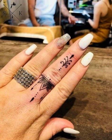 Small Mandala Ornament Finger Tattoos lilyhew_tattoo