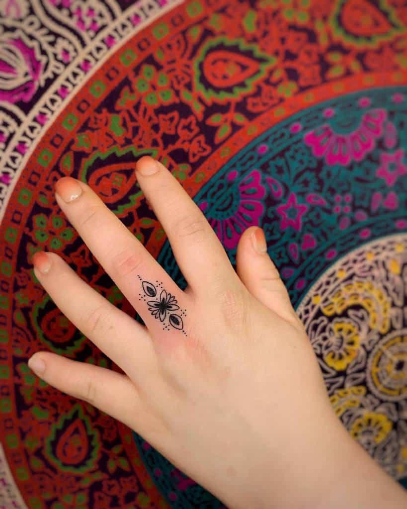Small Mandala Ornament Finger Tattoos tattooist_rangse