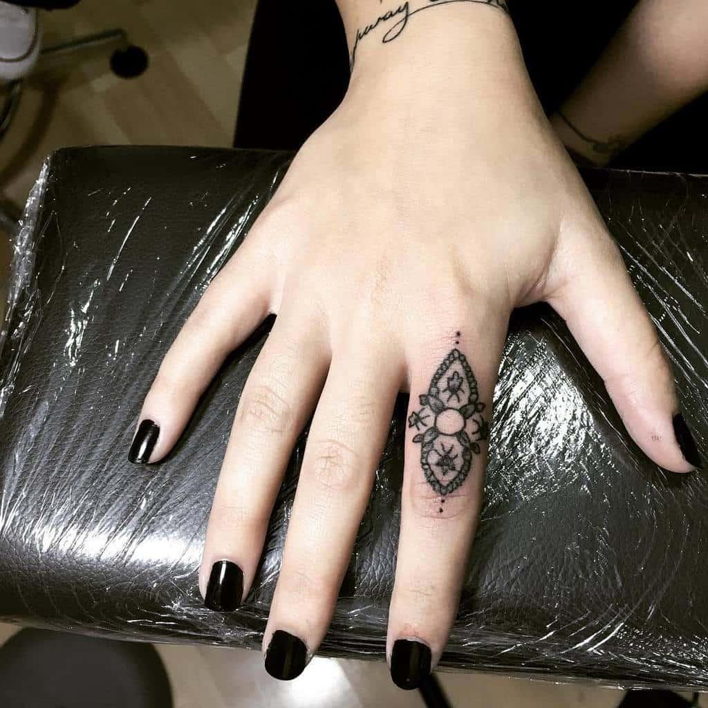 Small Mandala Ornament Finger Tattoos tbrttt