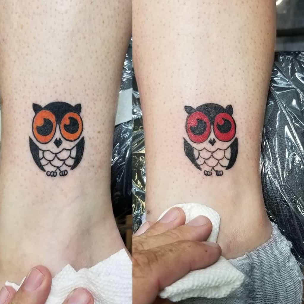 Small Owl Ankle Tattoos eviljoe65